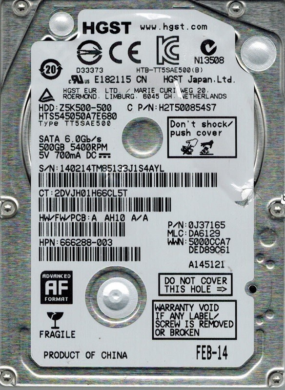 HGST HTS545050A7E680 P/N: 0J37165 MLC: DA6129 500GB