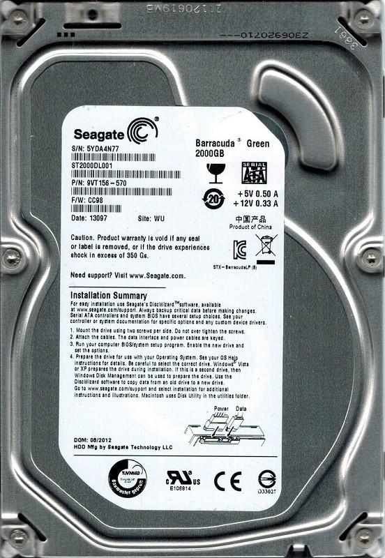 Seagate ST2000DL001 P/N: 9VT156-570 F/W: CC98 2TB WU