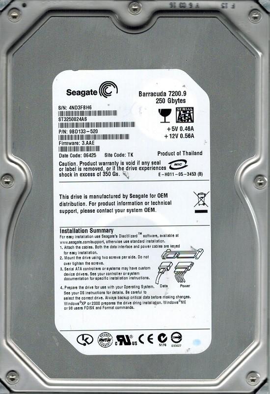 Seagate ST3250824AS P/N: 9BD133-520 F/W: 3.AAE 250GB TK