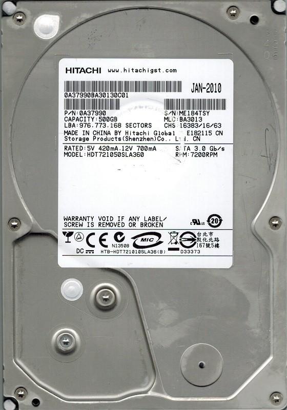 Hitachi HDT721050SLA360 500GB P/N: 0A37990 MLC: BA3013