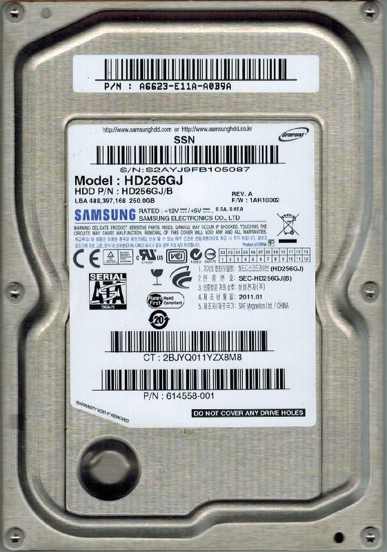 Samsung HD256GJ SPINPOINT 250GB P/N: A6623-E11A-A0B9A
