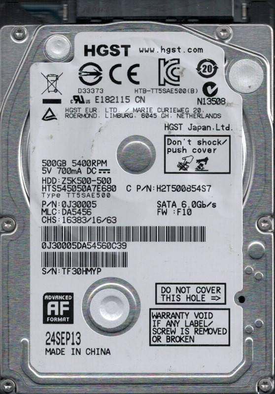 HTS545050A7E680 P/N: 0J30005 MLC: DA5456 China HGST 500GB