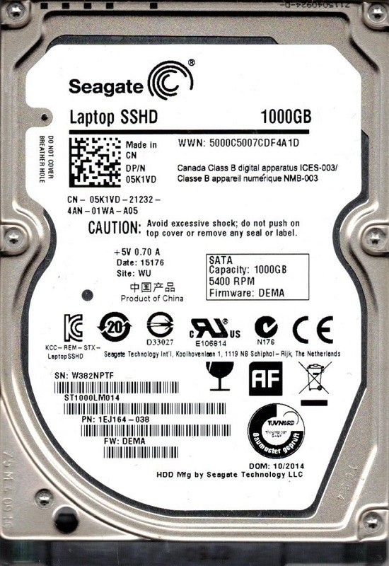 Seagate ST1000LM014 P/N: 1EJ164-038 F/W: DEMA WU W38 1TB SSHD HYBRID