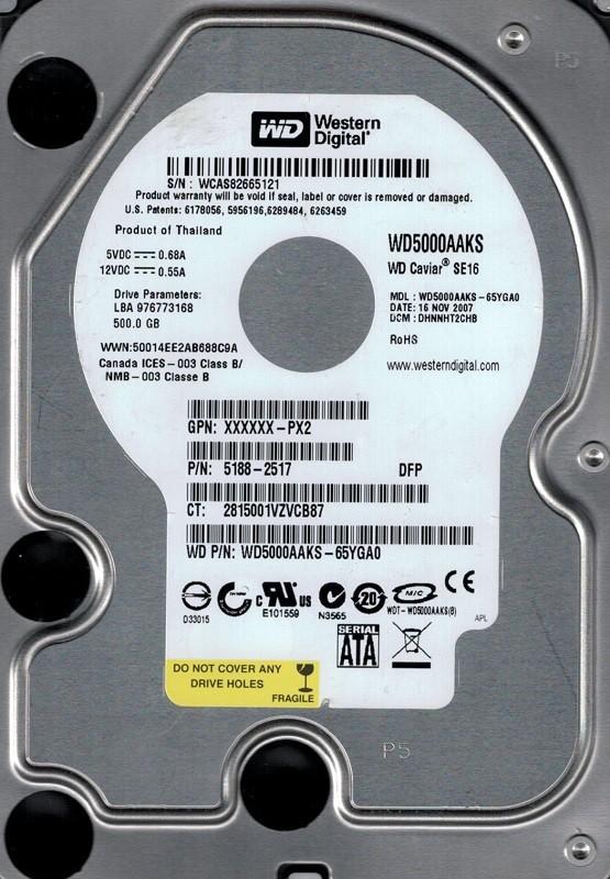 Western Digital WD5000AAKS-65YGA0 500GB DCM: DHNNHT2CHB