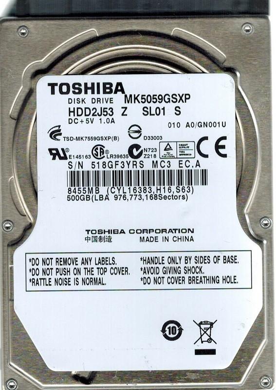 Toshiba MK5059GSXP 500GB HDD2J53 Z SL01 S CHINA