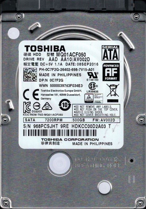 MQ01ACF050 AAD AA10/AV002D Philippines Toshiba 500GB Laptop Hard Drive