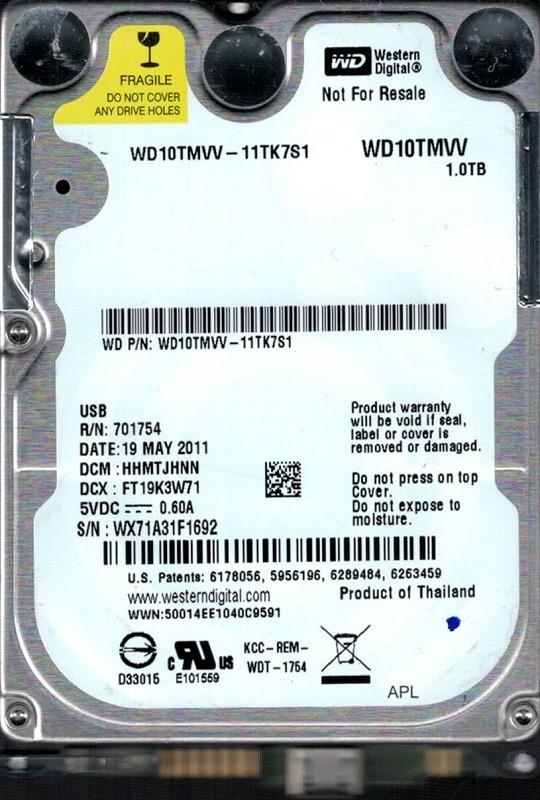 Western Digital WD10TMVV-11TK7S1 USB 2.0 1TB DCM: HHMTJHNN WX71A