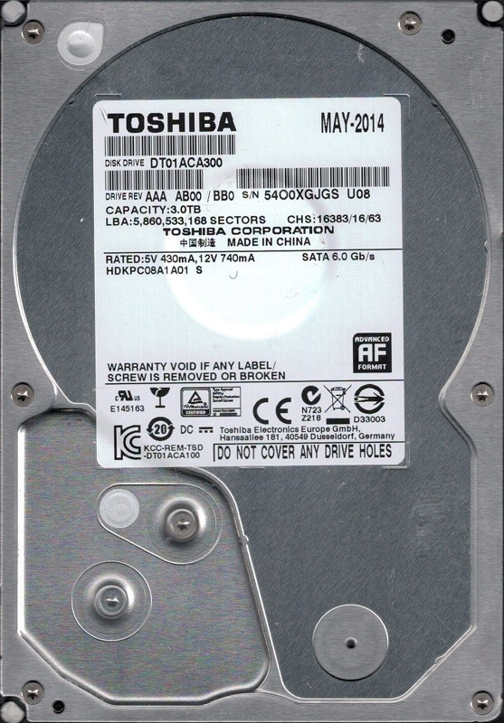 DT01ACA300 AAA AB00/BB0 CHINA Toshiba 3TB