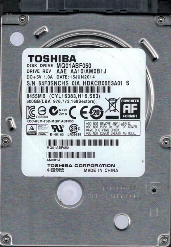 Toshiba MQ01ABF050 500GB AAE AA10/AM0B1J CHINA