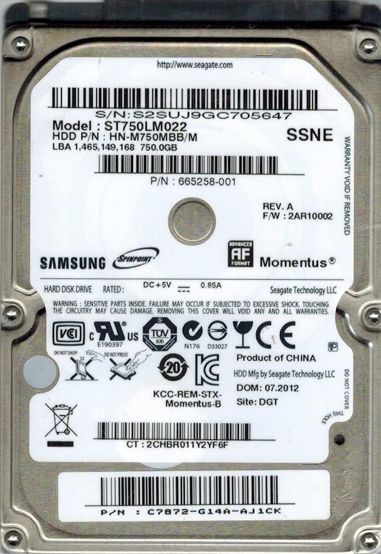 Samsung ST750LM022 HN-M750MBB/M 750GB P/N: C7872-G14A-AJ1CK Seagate