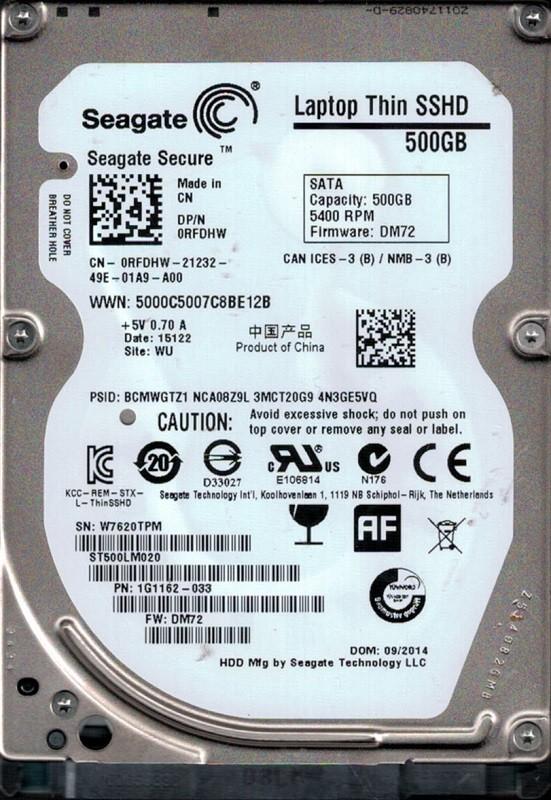 ST500LM020 P/N: 1G1162-033 F/W: DM72 WU W76 Seagate 500GB