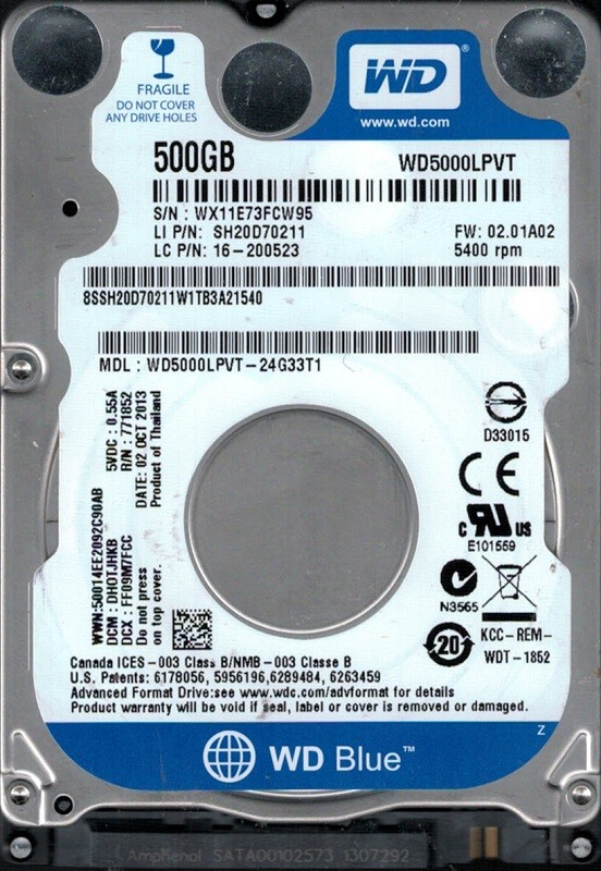 WD5000LPVT-24G33T1 DCM: DHOTJHKB WX11E Western Digital 500GB