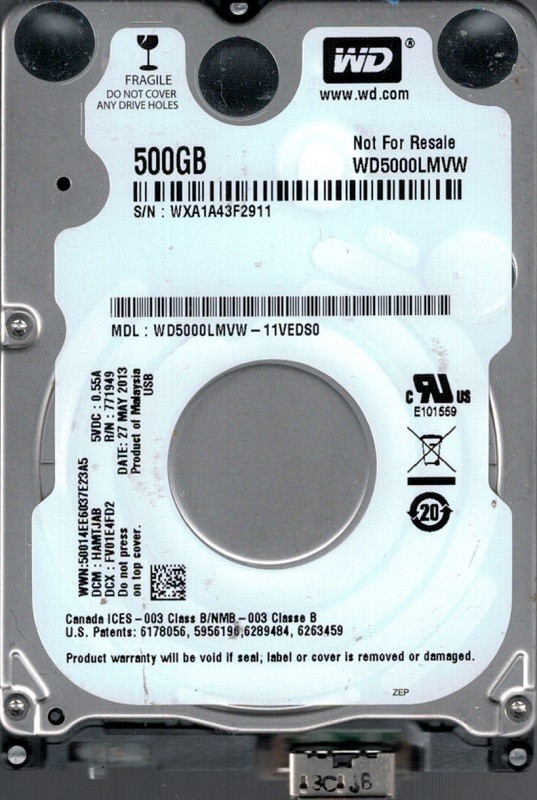 Western Digital WD5000LMVW-11VEDS0 USB 3.0 500GB DCM: HAMTJAB