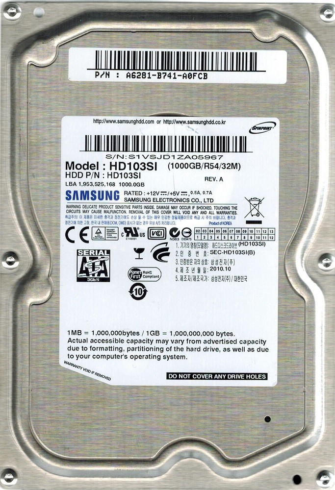 Samsung HD103SI SPINPOINT 1TB P/N: A6281-B741-A0FCB