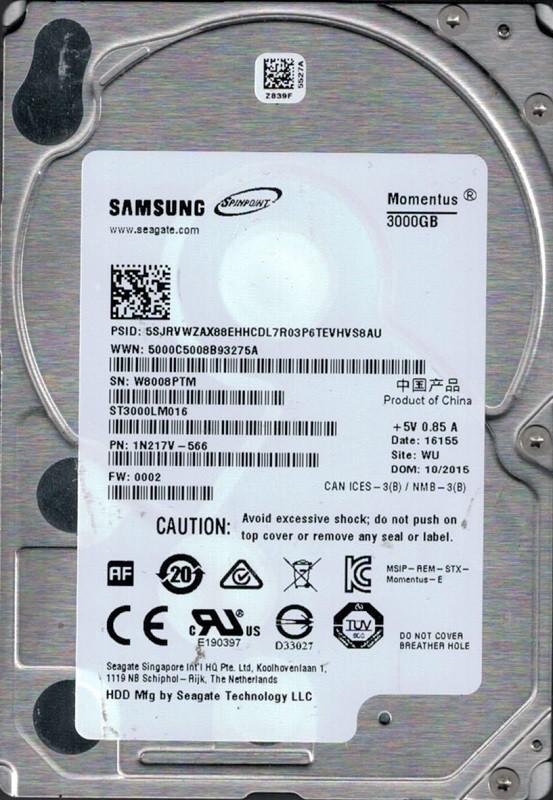 ST3000LM016 P/N: 1N217V-566 F/W: 0002 WU W80 Samsung Seagate 3TB
