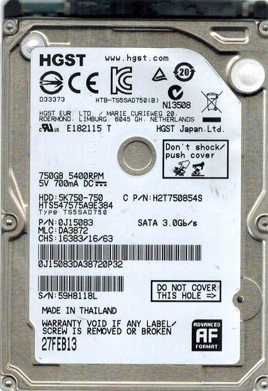 Hitachi HTS547575A9E384 MLC: DA3872 P/N: 0J15083 750GB