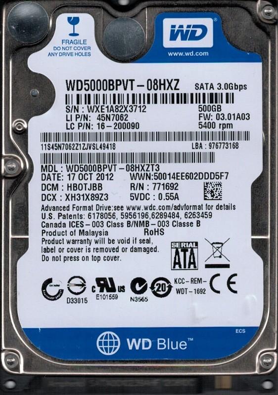 WD5000BPVT-08HXZT3 DCM: HBOTJBB WXE1A Western Digital 500GB