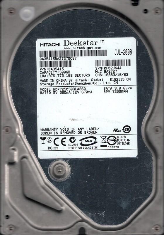 HDP725050GLA360 P/N: 0A35415 MLC: BA2727 Hitachi 500GB