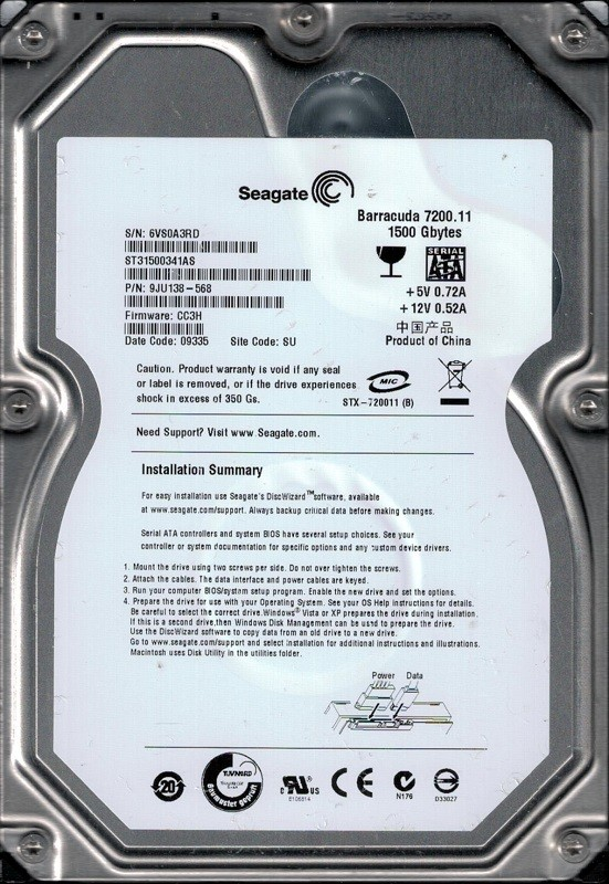 Seagate ST31500341AS 1.5TB P/N: 9JU138-568 F/W: CC3H SU 6VS
