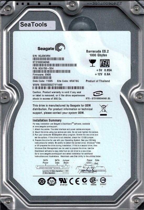 ST31000340NS P/N: 9CA158-504 F/W: SN06 KRATSG 9QJ Seagate 1TB