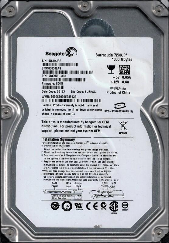 Seagate ST31000340AS P/N: 9BX158-303 F/W: SD15 1TB SUZHSG