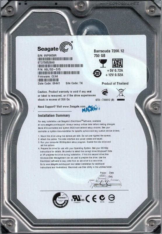 Seagate ST3750528AS P/N: 9SL153-515 F/W: CC44 TK 750GB