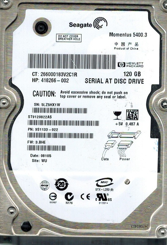 Seagate ST9120822AS P/N: 9S1133-022 F/W: 3.BHE 120GB WU
