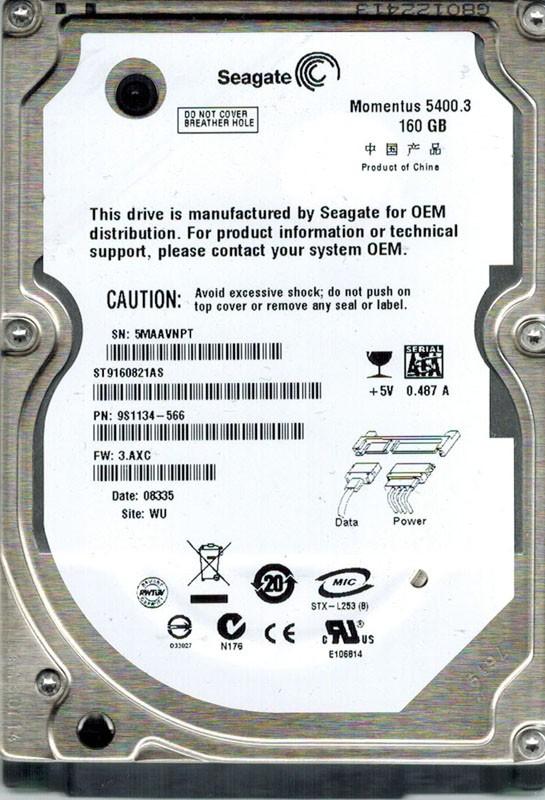Seagate ST9160821AS 160GB P/N: 9S1134-566 F/W: 3.AXC WU SATA