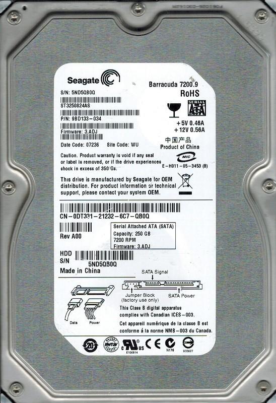 Seagate ST3250824AS P/N: 9BD133-034 F/W: 3.ADJ 250GB WU