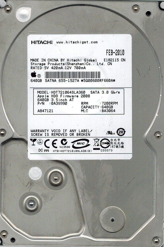 Hitachi HDT721064SLA360 P/N: 0A39990 MLC: BA3064 640GB MAC APPLE