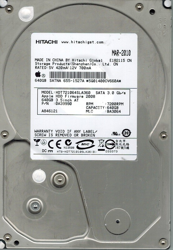 Hitachi HDT721064SLA360 P/N: 0A39990 MLC: BA3064 MAC 640GB APPLE