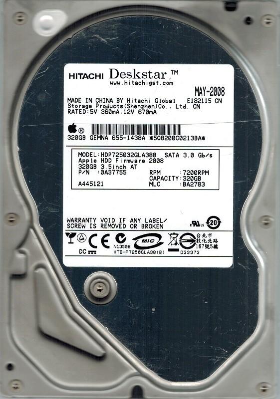 Hitachi HDP725032GLA380 MAC P/N: 0A37755 MLC: BA2783 320GB APPLE