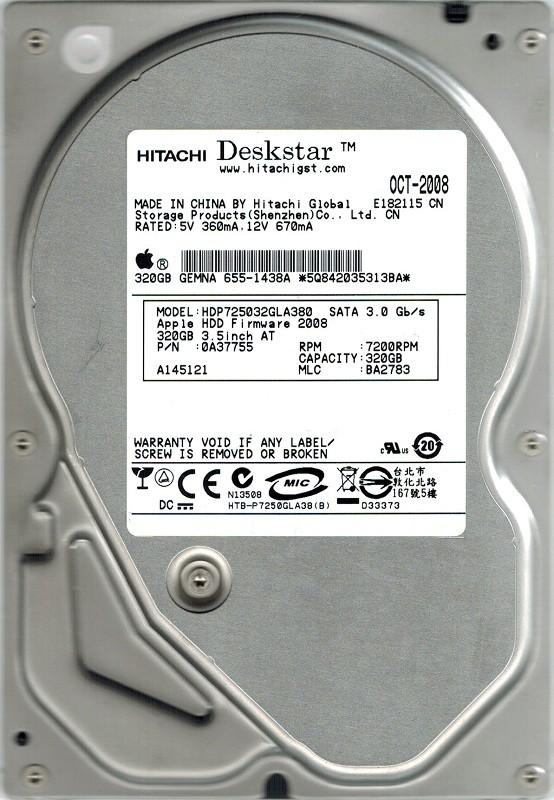 Hitachi HDP725032GLA380 MAC P/N: 0A37755 320GB MLC: BA2783 APPLE