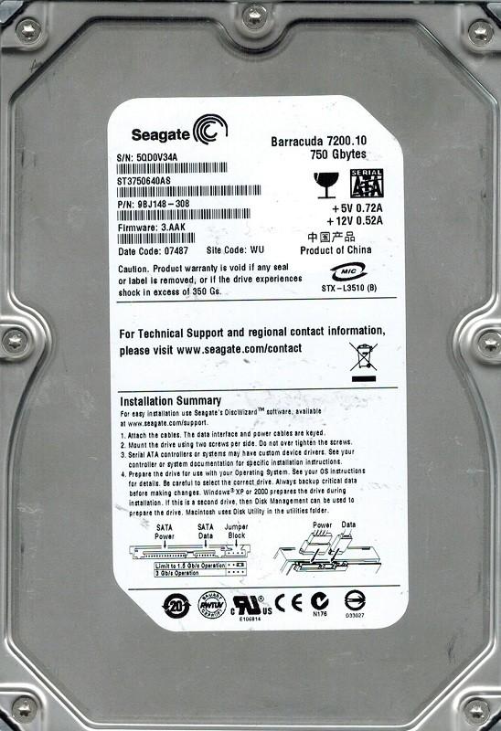 Seagate ST3750640AS P/N: 9BJ148-308 F/W: 3.AAK 750GB WU