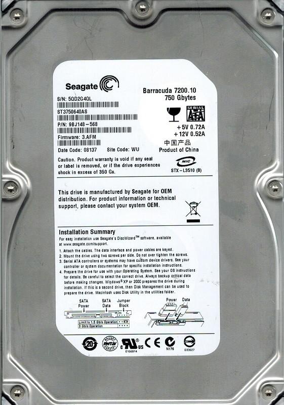 Seagate ST3750640AS P/N: 9BJ148-568 F/W: 3.AFM 750GB WU