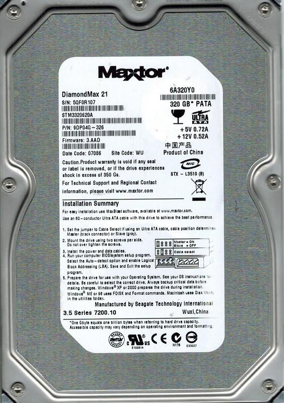 Maxtor STM3320620A P/N: 9DP04G-326 F/W: 3.AAD 320GB WU 6A320Y0