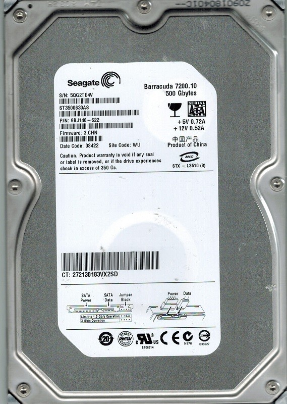Seagate ST3500630AS P/N: 9BJ146-622 F/W: 3.CHN WU 500GB
