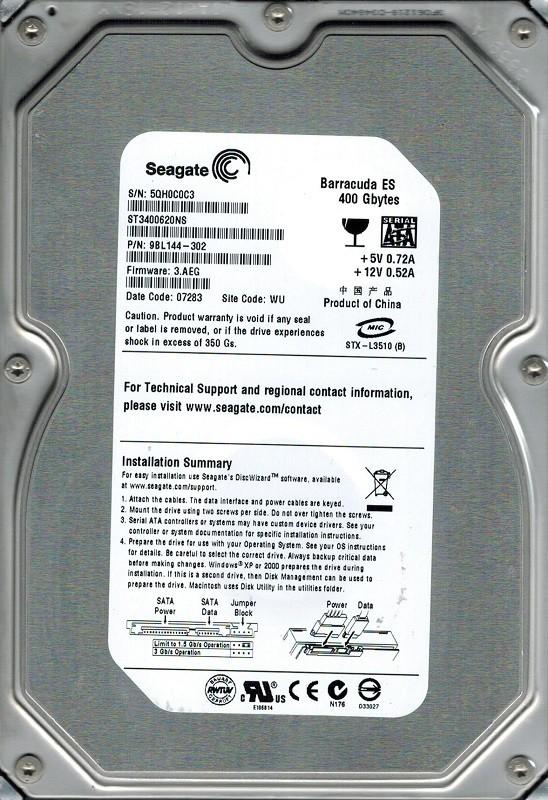 Seagate ST3400620NS P/N: 9BL144-302 F/W: 3.AEG 400GB WU