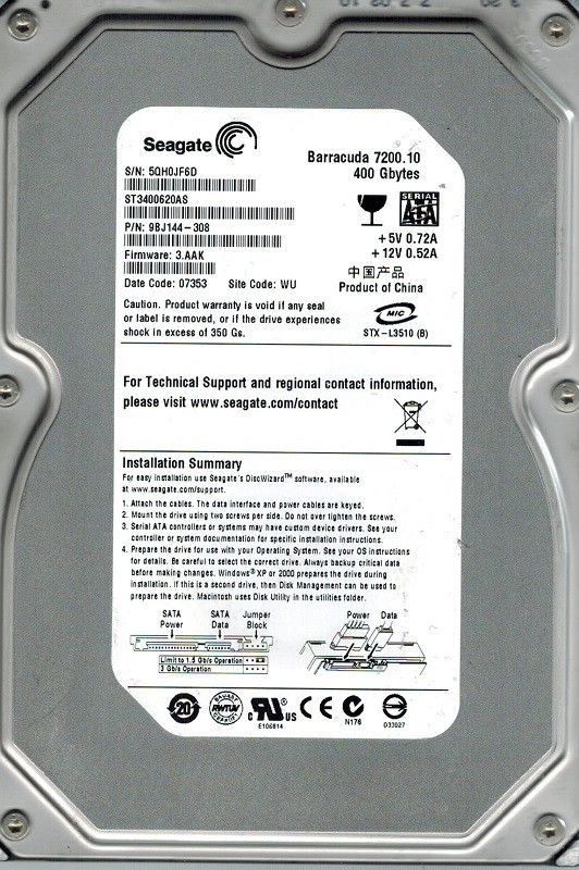 Seagate ST3400620AS P/N: 9BJ144-308 F/W: 3.AAK 400GB WU