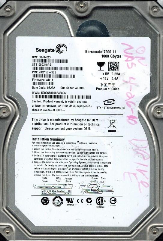 Seagate ST31000340AS F/W: AD14 P/N: 9BX158-302 1TB WUXISG