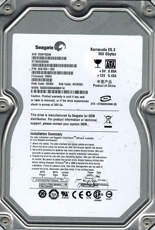 Seagate ST3500320NS P/N: 9CA154-302 F/W: SN04 500GB WUXISG