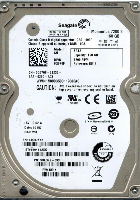 Seagate ST9160411ASG 160GB P/N: 9GE42-033 F/W: DE14 WU