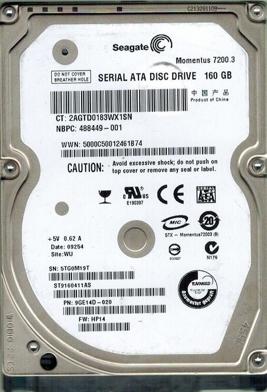 Seagate ST9160411AS 160GB P/N: 9GE14D-020 F/W: HP14 WU