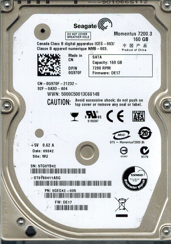 Seagate ST9160411ASG P/N: 9GEG42-035 F/W: DE17 160GB WU