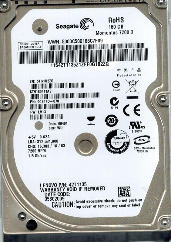 Seagate ST9160411AS 160GB P/N: 9GE14D-070 F/W: LV13 WU