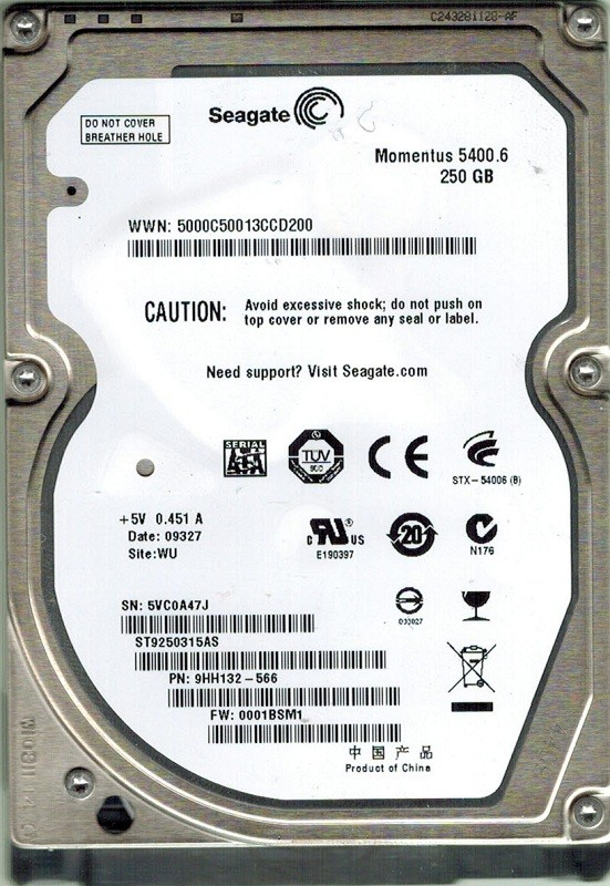 Seagate ST9250315AS 250GB P/N: 9HH132-566 F/W: 0001BSM1 WU