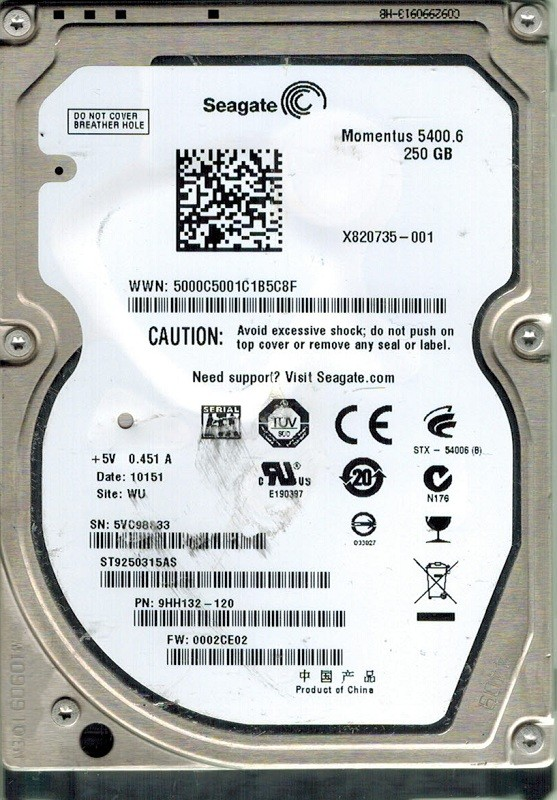 Seagate ST9250315AS 250GB P/N: 9HH132-120 F/W: 0002CE02 WU