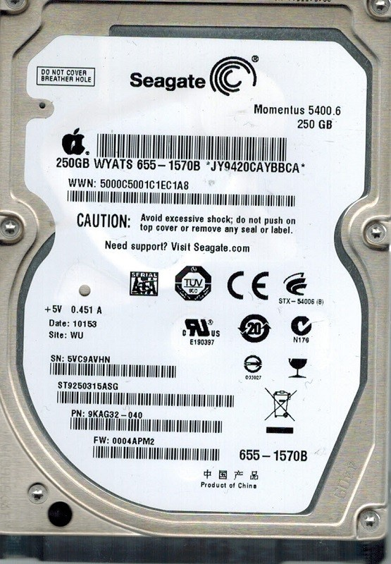 Seagate ST9250315ASG MAC P/N: 9KAG32-040 250GB F/W: 0004APM2 WU APPLE