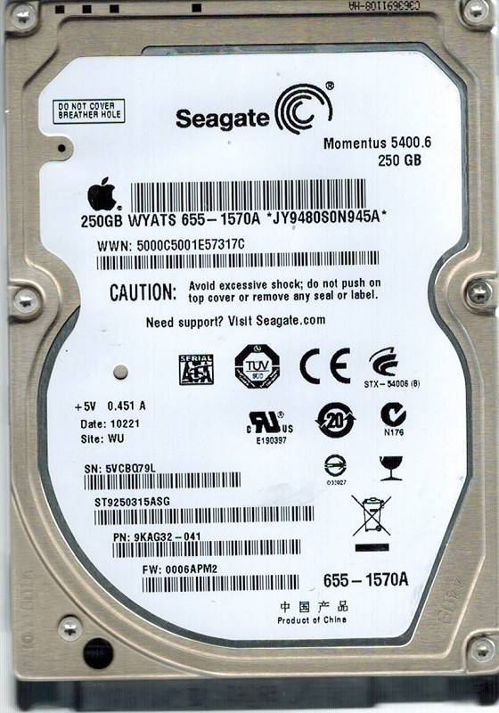 Seagate ST9250315ASG MAC P/N: 9KAG32-041 250GB F/W: 0006APM2 WU APPLE