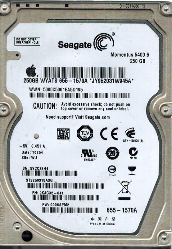 Seagate ST9250315ASG P/N: 9KAG32-041 F/W: 0006APM2 MAC WU 250GB APPLE